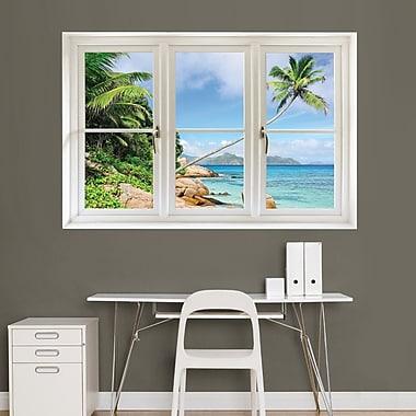 Fathead – Autocollant mural 69-00338, plage tropicale, fenêtre instantanée Seychelles
