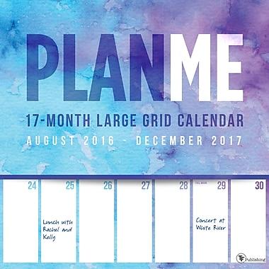 TF Publishing 2017 PlanMe Big Grid 17 Month Wall Calendar, 12