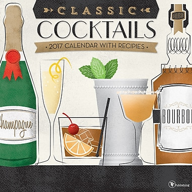 TF Publishing – Calendrier mural 2017, Cocktails, 12 x 12 po