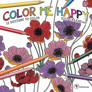 TF Publishing – Petit calendrier mural 2017, Color Me Happy, 7 x 7 po