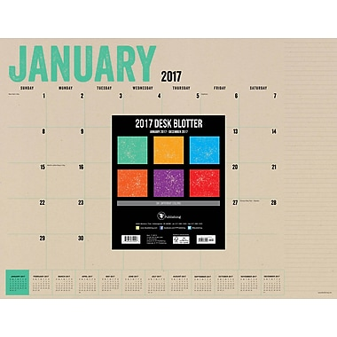TF Publishing 2017 Kraft 12 Month Desk Blotter, 22