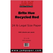 "JAM Paper® 8 1/2"" x 14"" Brite Hue Recycled Legal Paper, Red, 500/Pack"