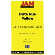 "JAM Paper® 24 lb.. Brite Hue Recycled Legal Paper, 8 1/2"" x 14"", Yellow, 500/Ream"