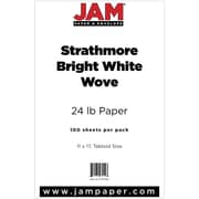 "JAM Paper® 11"" x 17"" Strathmore Paper, Bright White, 100 Sheets/Pack"