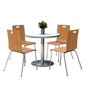 "KFI 36"" Round Crisp Linen HPL Table with 4 9222-Natural Chairs  (36RB922SCL9222N)"