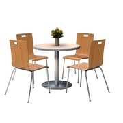 "KFI 42"" Round Natural HPL Table with 4 9222-Natural Chairs  (42RB922SNA9222N)"