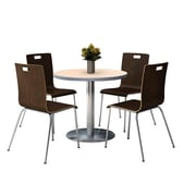 """KFI 36"""" Round Natural HPL Table with 4 9222-Espresso Chairs  (36RB922SNA9222E)"""