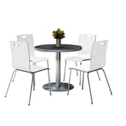 """KFI 42"""" Round Graphite Nebula HPL Table with 4 9222-White Chairs  (42RB922SGR9222W)"""