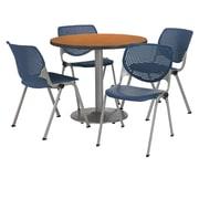 "KFI 42"" Round Medium Oak HPL Table with 4 Navy KOOL Chairs  (42R192SMO230P03)"