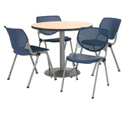 "KFI 36"" Round Natural HPL Table with 4 Navy KOOL Chairs  (36R192SNA230P03)"