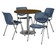 "KFI 42"" Round Walnut HPL Table with 4 Navy KOOL Chairs  (42R192SWL230P03)"