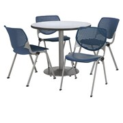 "KFI 42"" Round Grey Nebula HPL Table with 4 Navy KOOL Chairs  (42R192SGN230P03)"