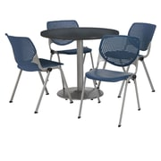 "KFI 36"" Round Graphite Nebula HPL Table with 4 Navy KOOL Chairs  (36R192SGR230P03)"