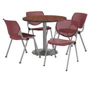 "KFI 36"" Round Mahogany HPL Table with 4 Burgundy KOOL Chairs  (36R192SMH230P07)"