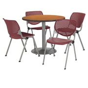 "KFI 36"" Round Medium Oak HPL Table with 4 Burgundy KOOL Chairs  (36R192SMO230P07)"