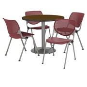 "KFI 42"" Round Walnut HPL Table with 4 Burgundy KOOL Chairs  (42R192SWL230P07)"