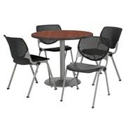 "KFI 36"" Round Mahogany HPL Table with 4 Black KOOL Chairs  (36R192SMH230P10)"