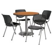 "KFI 36"" Round Medium Oak HPL Table with 4 Black KOOL Chairs  (36R192SMO230P10)"