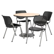 "KFI 36"" Round Natural HPL Table with 4 Black KOOL Chairs  (36R192SNA230P10)"