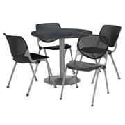 "KFI 42"" Round Graphite Nebula HPL Table with 4 Black KOOL Chairs  (42R192SGR230P10)"