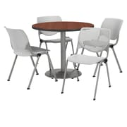 "KFI 36"" Round Mahogany HPL Table with 4 Light Grey KOOL Chairs  (36R192SMH230P13)"