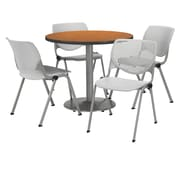 "KFI 36"" Round Medium Oak HPL Table with 4 Light Grey KOOL Chairs  (36R192SMO230P13)"