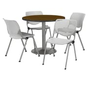 "KFI 36"" Round Walnut HPL Table with 4 Light Grey KOOL Chairs  (36R192SWL230P13)"