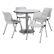 "KFI 42"" Round Grey Nebula HPL Table with 4 Light Grey KOOL Chairs  (42R192SGN230P13)"