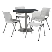 "KFI 42"" Round Graphite Nebula HPL Table with 4 Light Grey KOOL Chairs  (42R192SGR230P13)"