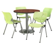 "KFI 42"" Round Mahogany HPL Table with 4 Lime Green KOOL Chairs  (42R192SMH230P14)"