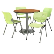 "KFI 36"" Round Medium Oak HPL Table with 4 Lime Green KOOL Chairs  (36R192SMO230P14)"