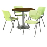 "KFI 36"" Round Walnut HPL Table with 4 Lime Green KOOL Chairs  (36R192SWL230P14)"