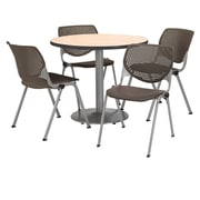 "KFI 36"" Round Natural HPL Table with 4 Brownstone KOOL Chairs  (36R192SNA230P18)"