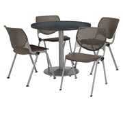 "KFI 36"" Round Graphite Nebula HPL Table with 4 Brownstone KOOL Chairs  (36R192SGR230P18)"