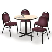 "KFI 36"" Round Natural HPL Table with 4 Burgundy Vinyl Stack Chairs (36R025NAIM52BGV)"