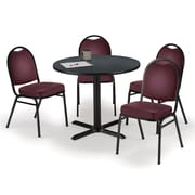 "KFI 36"" Round Graphite Nebula HPL Table with 4 Burgundy Vinyl Stack Chairs (36R025GRIM52BGV)"