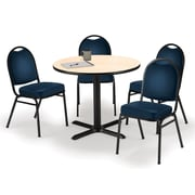 "KFI 36"" Round Natural HPL Table with 4 Navy Vinyl Stack Chairs (36R025NAIM520NV)"