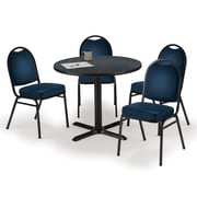 "KFI 36"" Round Graphite Nebula HPL Table with 4 Navy Vinyl Stack Chairs (36R025GRIM520NV)"