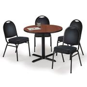 "KFI 36"" Round Mahogany HPL Table with 4 Black Vinyl Stack Chairs (36R025MHIM52BKV)"