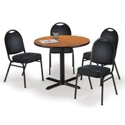 "KFI 42"" Round Medium Oak HPL Table with 4 Black Vinyl Stack Chairs (42R025MOIM52BKV)"