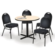 "KFI 36"" Round Natural HPL Table with 4 Black Vinyl Stack Chairs (36R025NAIM52BKV)"