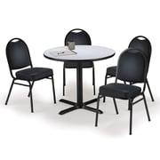 "KFI 42"" Round Grey Nebula HPL Table with 4 Black Vinyl Stack Chairs (42R025GNIM52BKV)"