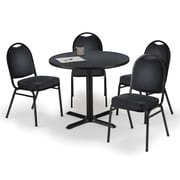 "KFI 42"" Round Graphite Nebula HPL Table with 4 Black Vinyl Stack Chairs (42R025GRIM52BKV)"