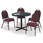 "KFI 42"" Round Graphite Nebula HPL Table with 4 Burgundy Fabric Stack Chairs (42R025GRIM52BGF)"
