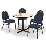 "KFI 36"" Round Natural HPL Table with 4 Navy Blue Fabric Stack Chairs (36R025NAIM52BLF)"