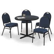 "KFI 42"" Round Graphite Nebula HPL Table with 4 Blue Fabric Stack Chairs (42R025GRIM52BLF)"