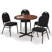 """KFI 42"""" Round Mahogany HPL Table with 4 Black Fabric Stack Chairs (42R025MHIM52BKF)"""