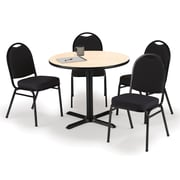 """KFI 36"""" Round Natural HPL Table with 4 Black Fabric Stack Chairs (36R025NAIM52BKF)"""