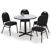 "KFI 42"" Round Grey Nebula HPL Table with 4 Black Fabric Stack Chairs (42R025GNIM52BKF)"