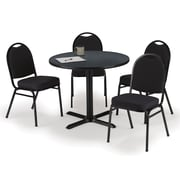 "KFI 36"" Round Graphite Nebula HPL Table with 4 Black Fabric Stack Chairs (36R025GRIM52BKF)"